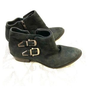 Vince Camuto Trapeez Blue Suede Ankle Booties 7